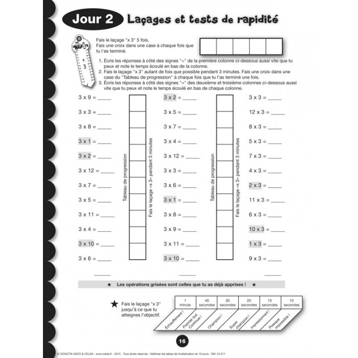 Ma triser les tables de multiplication en 10 jours for Table de multiplication de 5